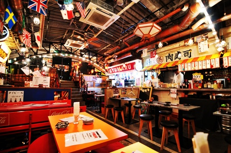 Tokyo, Japan - 27 Dec, 2011: Interior of Japanese restaurant in central Tokyo