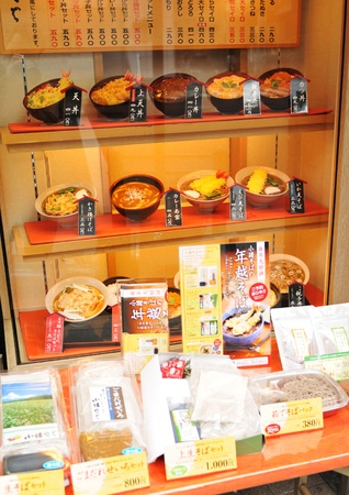 Tokyo, Japan - 28 Dec, 2011: Plastic replica of traditional Japanese food on display in restaurant