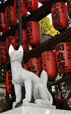 Tokyo, Japan - 28 Dec, 2011: Detail of traditional lanterns of Buddhist temple in Tokyo before New Year celebrations