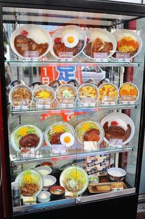 priced: Tokyo, Japan - 28 Dec, 2011: Plastic food on display in restaurant Editorial