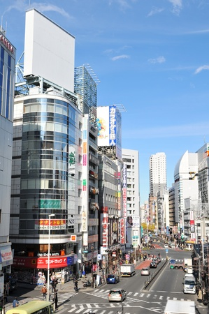 Tokyo, Japan - 28 Dec, 2011: Typical view of busy street in central Tokyo
