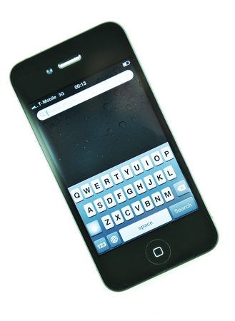 London, UK - 27 Feb, 2012: Iphone with blank message isolated against white background