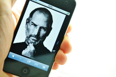 marketed: London, UK - 27 Feb, 2012: Steve Jobs, the co-founder of Apple Inc. depicted on iPod, created and marketed by Apple.
