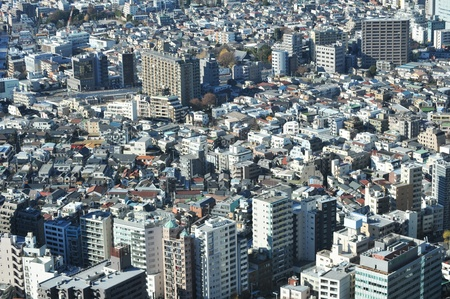 Tokyo, Japan - 28 December, 2011: Aerial view of Tokyo suburbs Stock Photo - 12571264
