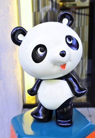 Tokyo, Japan - 28 Dec, 2011: Miniature statue of panda in front of toy store in Tokyo