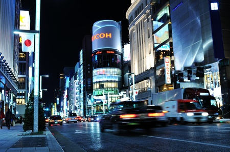 Tokyo, Japan - 28 Dec, 2011: Night view of Ginza commercial street in central Tokyo. Ginza is one of the most luxurious shopping districts in the world.  Stock Photo - 12571196