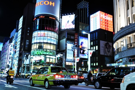 Tokyo, Japan - 28 Dec, 2011: Night view of Ginza commercial street in central Tokyo. Ginza is one of the most luxurious shopping districts in the world.