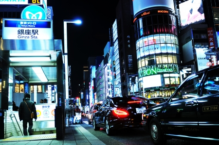 Tokyo, Japan - 28 December, 2011: Night view of Ginza metro station. Ginza is one of the busiest Tokyo metro stations