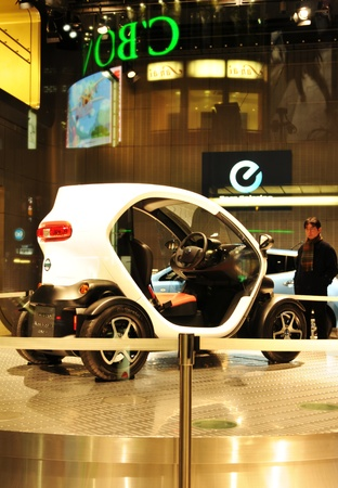 Tokyo, Japan - 28 December, 2011: Japanese electric car display in window shop at Ginza, Tokyo