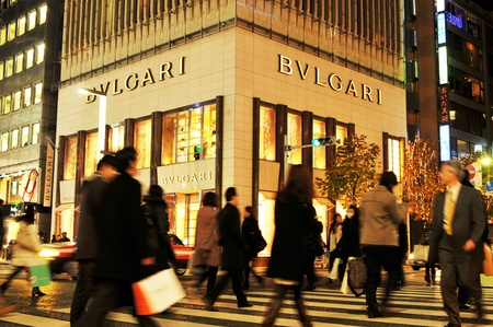 28: Tokyo, Japan - 28 December, 2011: Bvlgari store in Ginza, one of the most luxurious shopping district in the world