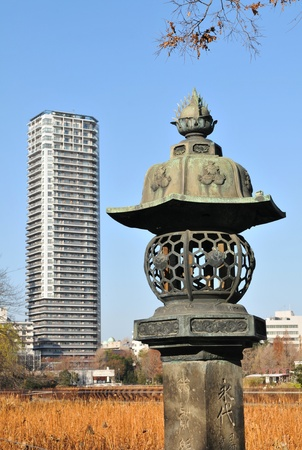 Tokyo, Japan - 28 Dec, 2011: Modern and traditional architecture (Benten-do temple) in Ueno district, Tokyo