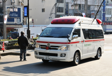 paramedical: Tokyo, Japan - 28 December, 2011: Ambulance emergency call in Ueno district