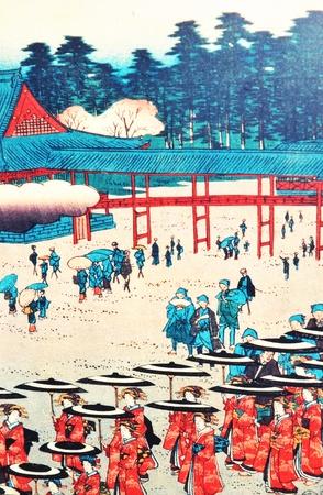 Tokyo, Japan - 02 January, 2012: Traditional Japanese painting in Asakusa district, Tokyo  Stock Photo - 13162138
