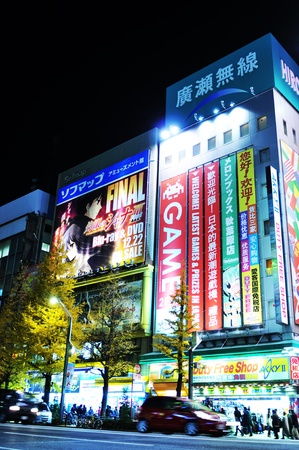 neon lights: Tokyo, Japan - 28 December, 2011: Night view of Akihabara, major commercial district of Tokyo