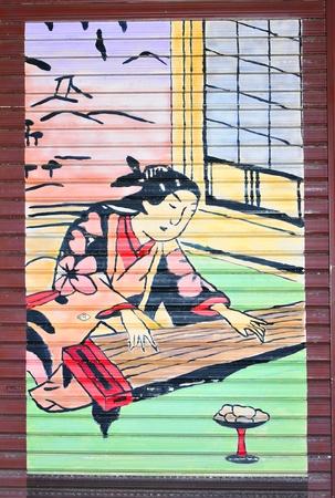 Tokyo, Japan - 02 January, 2012: Traditional Japanese painting in Asakusa district, Tokyo