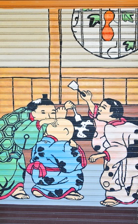 Tokyo, Japan - 02 January, 2012: Traditional Japanese painting in Asakusa district, Tokyo  Stock Photo - 13162097