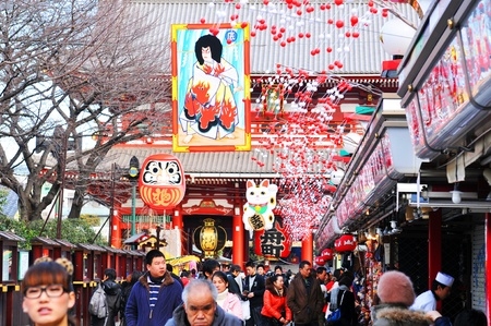 Tokyo, Japan - 1 January, 2012: Japanese people making their traditional trip to a temple in the first day of the New Year (Hatsumode) Editorial