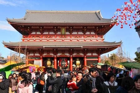 multiple family: Tokyo, Japan - 1 January, 2012: Pilgrims celebrating New Year (Hatsumode) at Sensoji Temple in Asakusa district, Tokyo