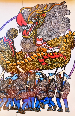 famous painting: Tokyo, Japan - 02 January, 2012: Traditional Japanese painting in Asakusa district, Tokyo