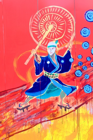 Tokyo, Japan - 30 December, 2011: Detail of colorful graffiti in Asakusa district, Tokyo