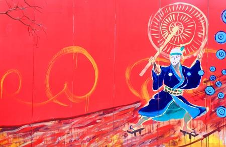 Tokyo, Japan - 30 December, 2011: Detail of colorful graffiti in Asakusa district, Tokyo