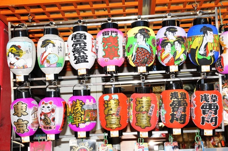 Tokyo, Japan - 30 December, 2011: Colorful traditional lanterns displayed in the market of Asakusa district