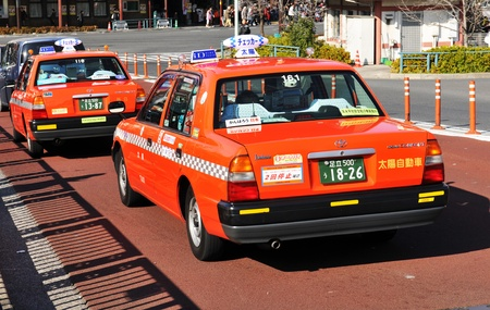 Tokyo, Japan - 30 December, 2011: Taxi service on the streets of Sumida, Tokyo Stock Photo - 13062309