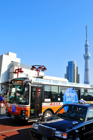 trees services: Tokyo, Japan - 30 December, 2011: Shuttle bus service linking Tokyo