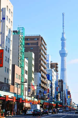 asakusa: Tokyo, Japan - 30 December, 2011: Contemporary architecture in Asakusa, major commercial and administrative district of Tokyo