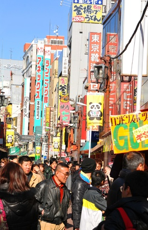 Tokyo, Japan - 31 December, 2011: Crowds of people shopping at New Year's Eve is the busy district of Asakusa