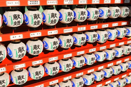 31: Tokyo, Japan - 31 December, 2011: Detail of wall of traditional lanterns at New Year in Japanese temple in Tokyo