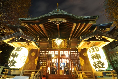 Tokyo, Japan - 31 December, 2011: Night view of traditional Japanese temple in Roppongi district of Tokyo