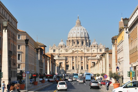 Vatican - 28 March, 2012: Architectural panorama of San Pietro basilica in Vatican