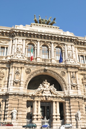 Rome, Italy - 28 March, 2012: The Architectural detail of the Palace of Justice, the seat of the Supreme Court of Cassation and the Judicial Public Library, located in the Prati district of Rome.