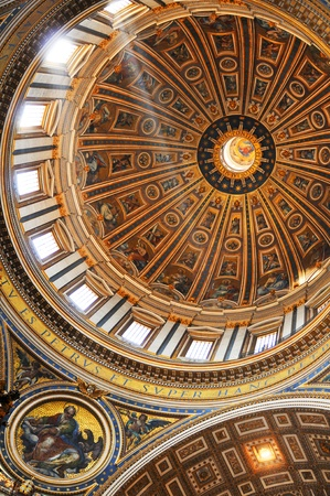 Rome, Italy - 28 March, 2012: Major restoration work on objects of art at San Pietro (San Peter) basilica in Vatican moves forward