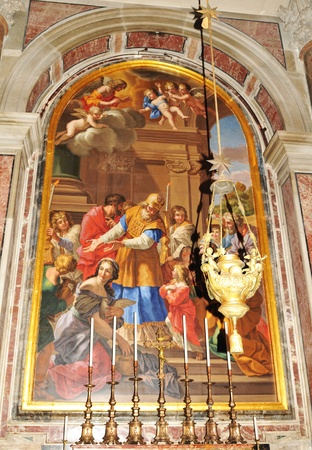 Rome, Italy - 28 March, 2012: Detail of Renaissance mosaic inside San Pietro (Saint Peter) basilica in Vatican, Rome