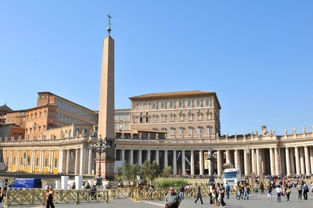 Rome, Italy - 28 March, 2012: Architectural panorama of San Pietro (San Peter) square in Vatican, Rome