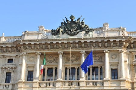 cavour: Rome, Italy - 28 March, 2012: Architectural detail of the Palazzaccio, the Palace of Justice in Piazza Cavour, a square situated in the Prati district