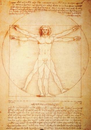 vitruvian man: Roma, Italia - 30 de marzo de 2012: R�plica del famoso Hombre de Vitruvio de dibujo creado por Leonardo da Vinci