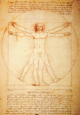 inscribed: Rome, Italy - 30 March, 2012: Replica of the famous Vitruvian Man drawing created by Leonardo da Vinci