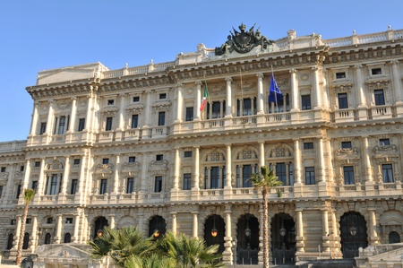 Rome, Italy - 28 March, 2012: Architectural detail of the Palazzaccio, the Palace of Justice in Piazza Cavour, a square situated in the Prati district Stock Photo - 13386498