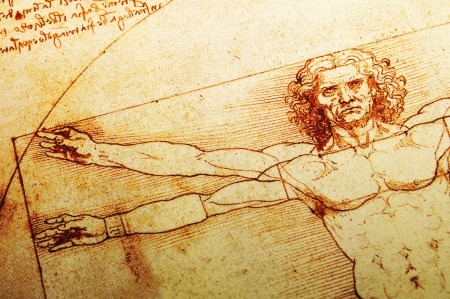 replica: Rome, Italy - 30 March, 2012: Replica of the famous Vitruvian Man drawing created by Leonardo da Vinci