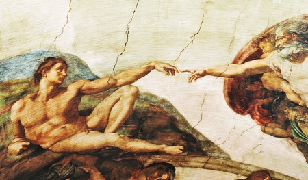 Rome, Italy - 30 March, 2012: Replica of The Creation of Adam painting by Michelangelo (a famous painting found on the ceiling of the Sistine Chapel)