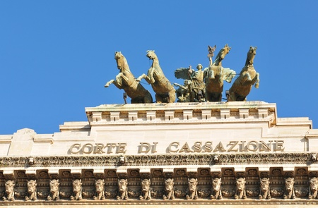 Rome, Italy - 28 March, 2012: Architectural detail of the Palazzaccio, the Palace of Justice in Piazza Cavour, a square situated in the Prati district