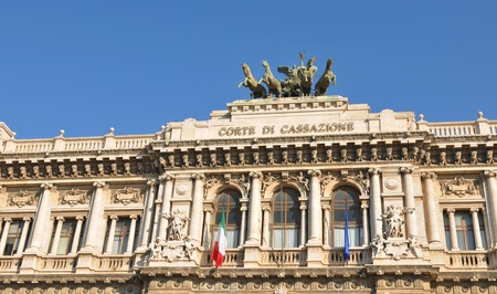 public service: Rome, Italy - 28 March, 2012: Architectural detail of the Palazzaccio, the Palace of Justice in Piazza Cavour, a square situated in the Prati district
