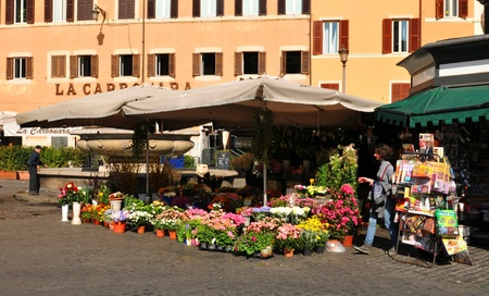 Rome, Italy - 29 March, 2012: Florist shop in Campo de Fiori (Field of Flowers), famous outdoor market located in the historical centre of Rome Stock Photo - 13386494