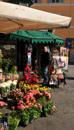 Rome, Italy - 29 March, 2012: Florist shop in Campo de Fiori (Field of Flowers), famous outdoor market located in the historical centre of Rome Stock Photo - 13386501