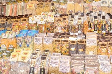 fussili: Rome, Italy - 28 March, 2012: Variety of traditional Italian pasta for sale in Campo de Fiori, famous outdoor market in central Rome