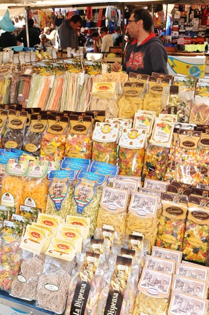 Rome, Italy - 28 March, 2012: Variety of traditional Italian pasta for sale in Campo de Fiori, famous outdoor market in central Rome Stock Photo - 13365439