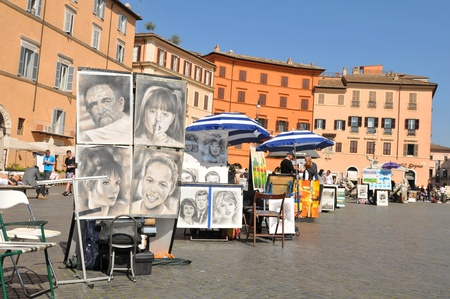 navona: Rome, Italy - 29 March, 2012: Paintings for sale displayed in Piazza Navona, major touristic attraction in the historical centre of Rome Editorial